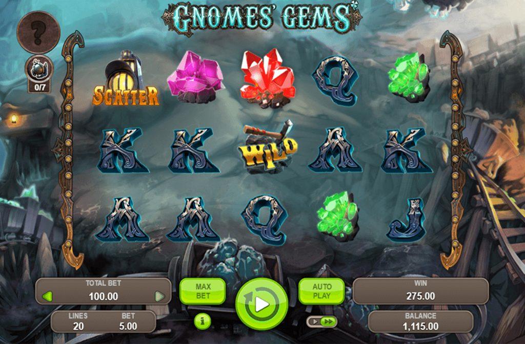 De Wild en Scatter symbolen zorgen bij Gnomes' Gems voor mooie geldprijzen