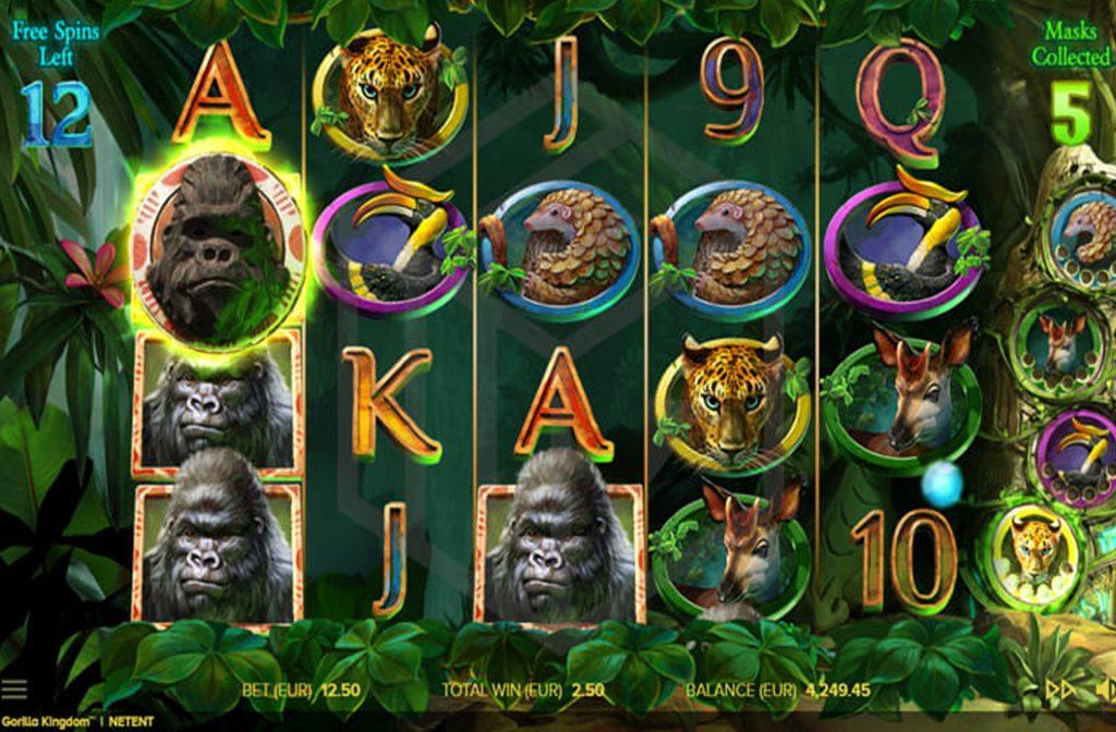 Spelprovider NetEnt heeft de Gorilla Kingdom gokkast ontwikkelt
