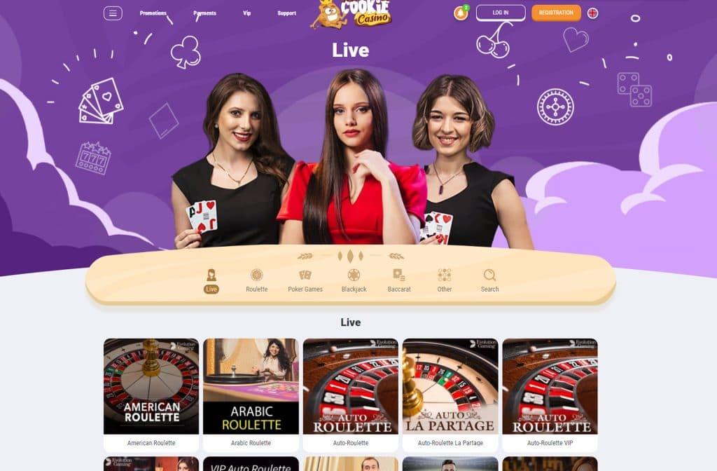 Het live casino van Cookie Casino