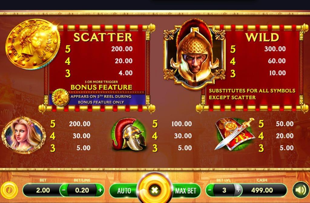 De Wild en Scatter symbolen bij Immortal Gladiator kunnen voor mooie geldprijzen zorgen