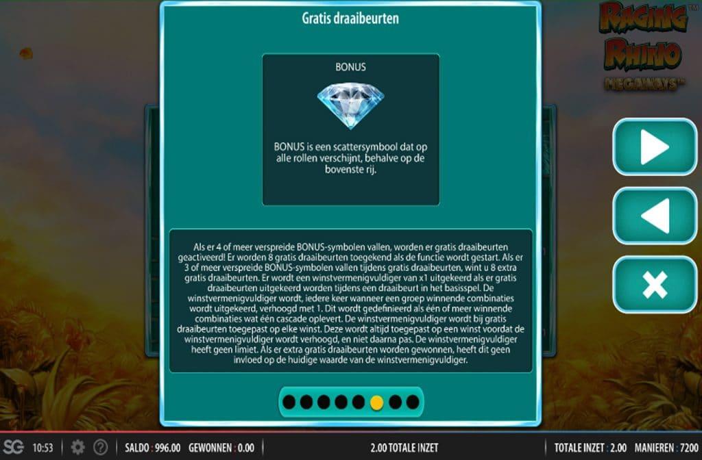 De Diamant is een bonus symbool. Als je 3 of meer bonus symbolen draait wordt de Free Spins Bonus geactiveerd