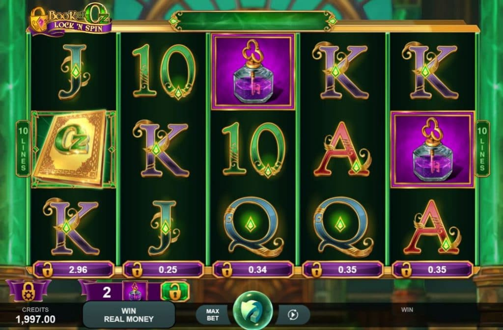 De Book of Oz Lock 'N Spin gokkast is ontwikkeld door spelprovider Triple Edge Studios