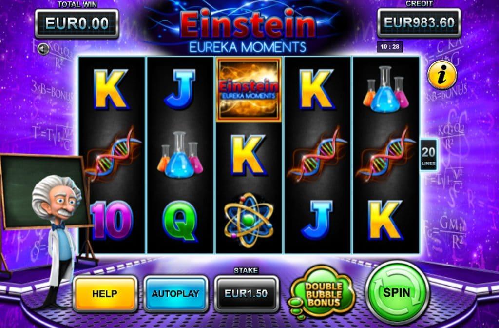 Spelprovider Stakelogic heeft de gokkast Einstein Eureka Moments Deluxe ontwikkeld