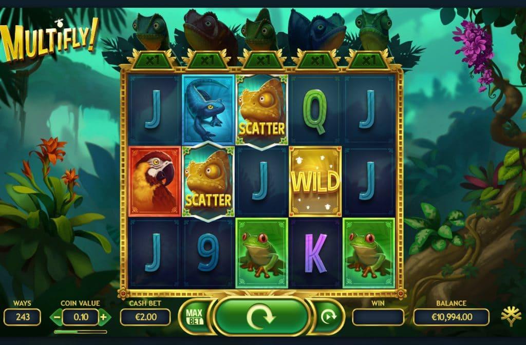 De Scatter en Wild symbolen bij gokkast Multifly kunnen voor extra geldprijzen zorgen