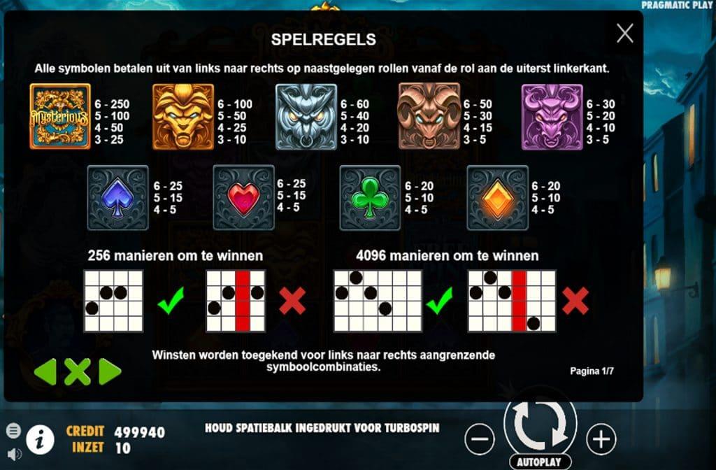 In de uitbetalingstabel zie je wat alle kleurrijke symbolen waard zijn
