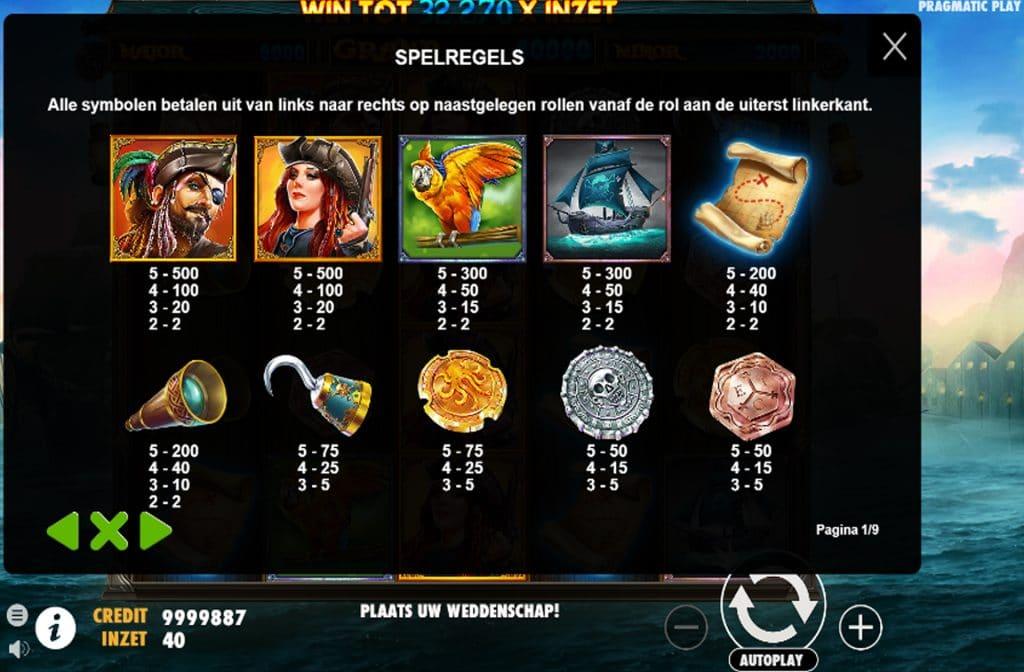 Neem eens een kijkje in de uitbetalingstabel om te zien wat voor winsten de betreffende symbolen opleveren
