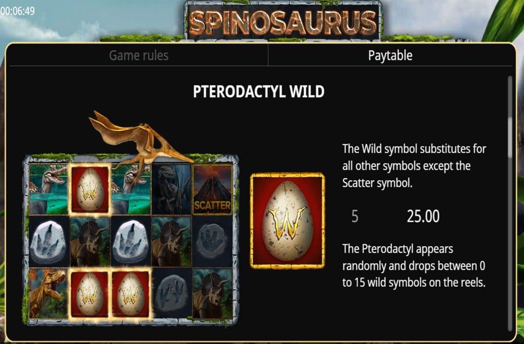 Het Wild symbool bij Spinosaurus herken je aan het ei van de dinosaurus