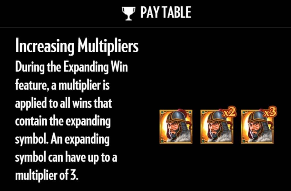 Er zijn diverse bonussen bij Sword of Khans en zo ook een vermenigvuldiger die voor mooie geldprijzen kan zorgen