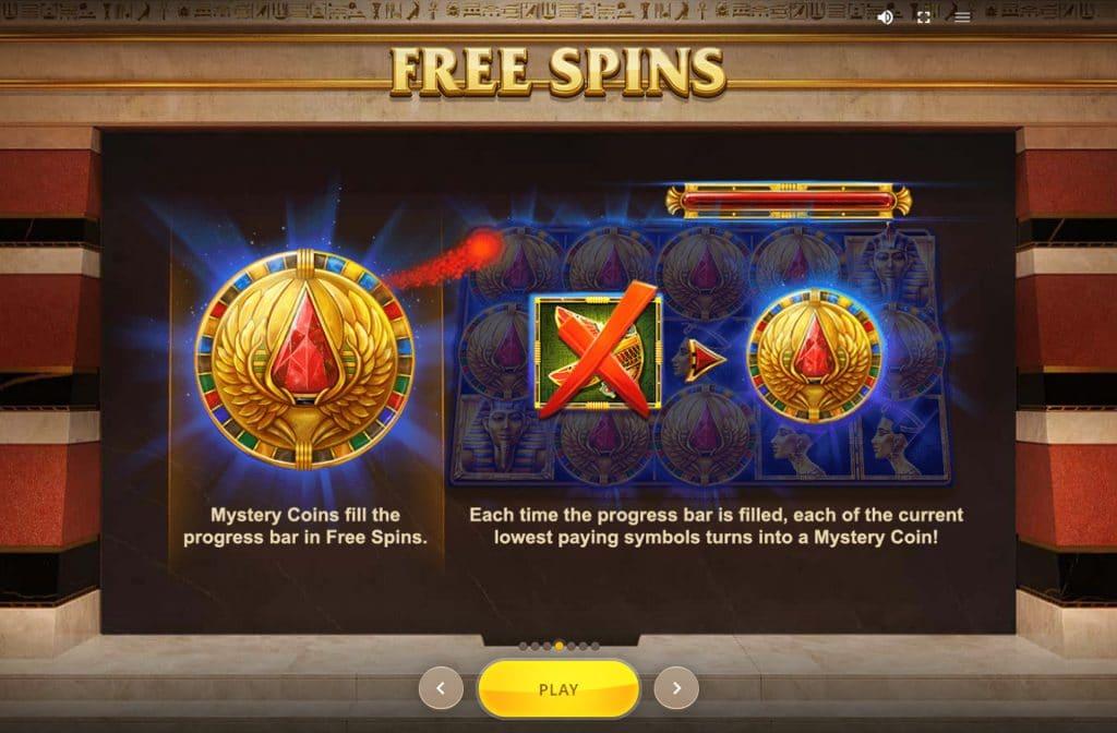 Een van de extra functies bij Wings of Ra is het Mystery symbool dat je herkent aan de gouden munt
