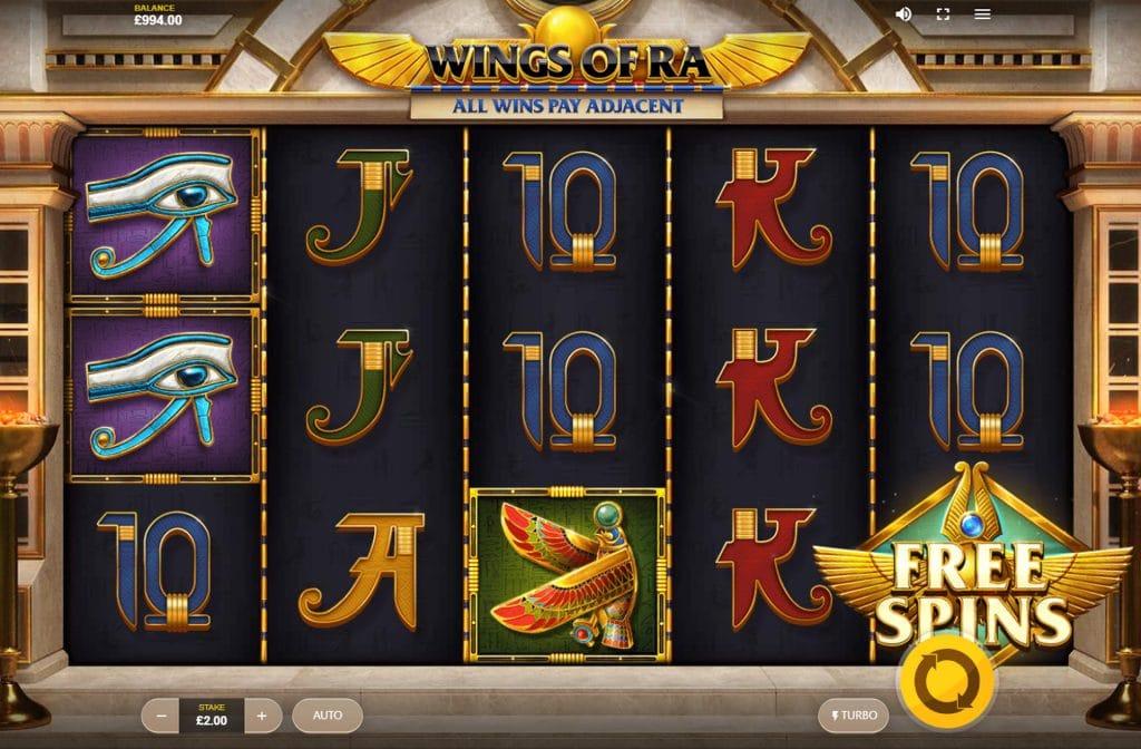 Het Free Spins symbool herken je aan de gouden vleugels van Horus