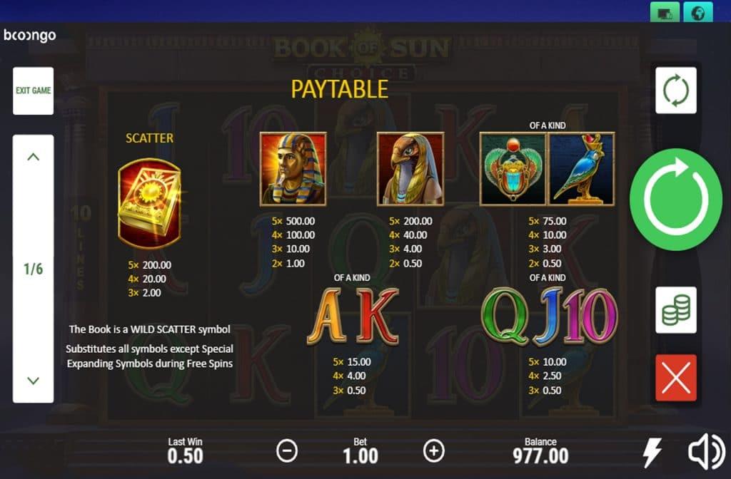 In de uitbetalingstabel van Book of Sun Choice zie je wat de betreffende symbolen waard zijn
