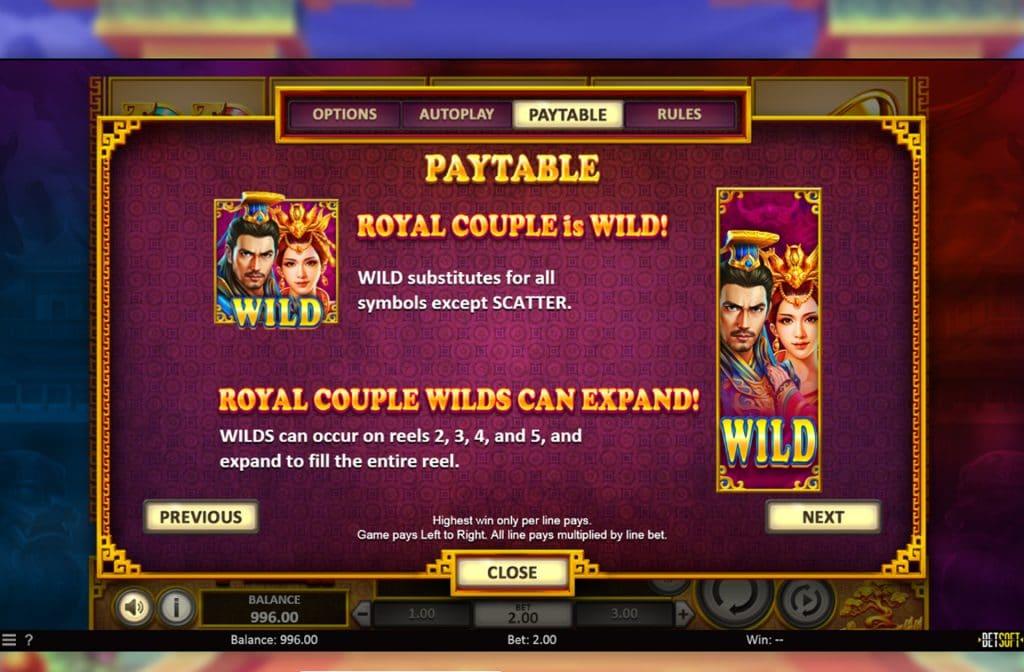 Het Royal Couple is het Wild symbool en heeft een vervangende functie