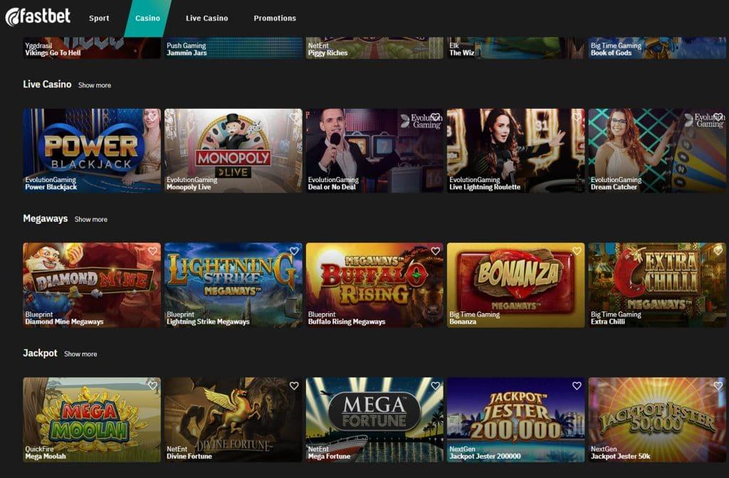 Bij het Fastbet Casino kun je kiezen uit vele spellen, Jackpots, Megaways en een Live Casino