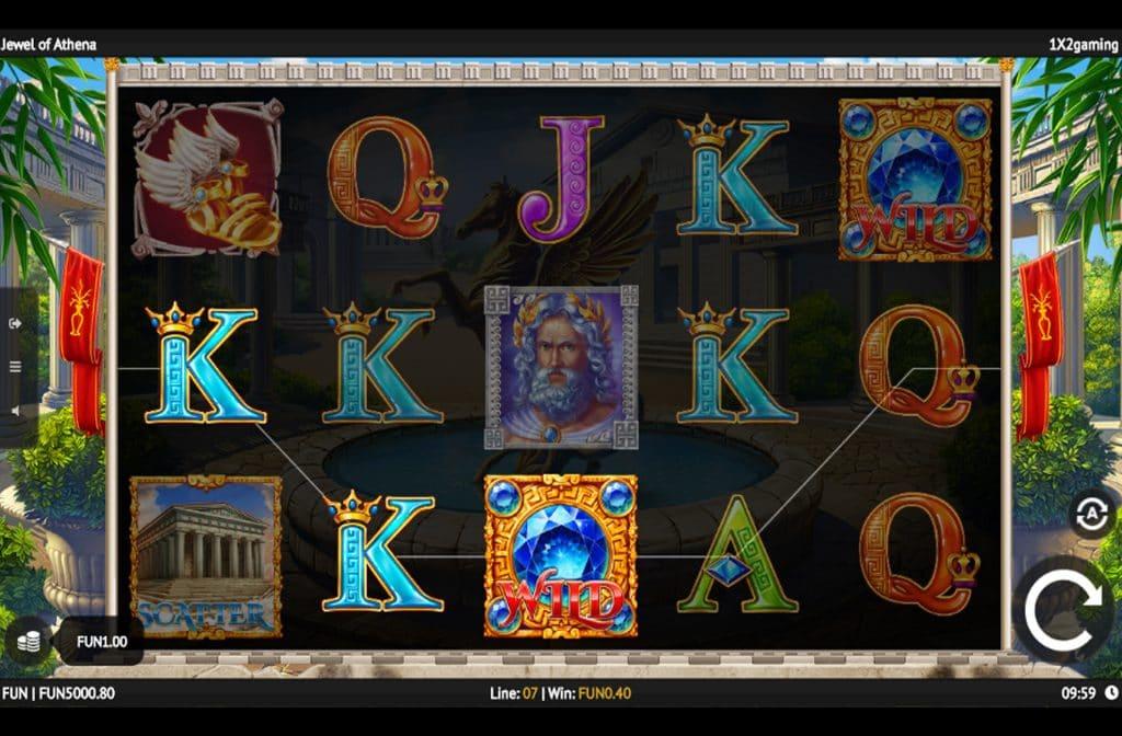 De Wild en Scatter symbolen bij Jewel of Athena kunnen voor mooie geldprijzen zorgen