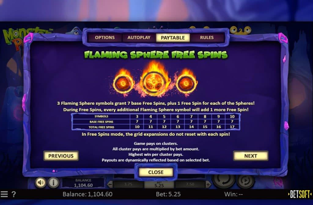 Eén van de bonussen die je bij Monster Pop tegen kunt komen is de Flaming Sphere Free Spins