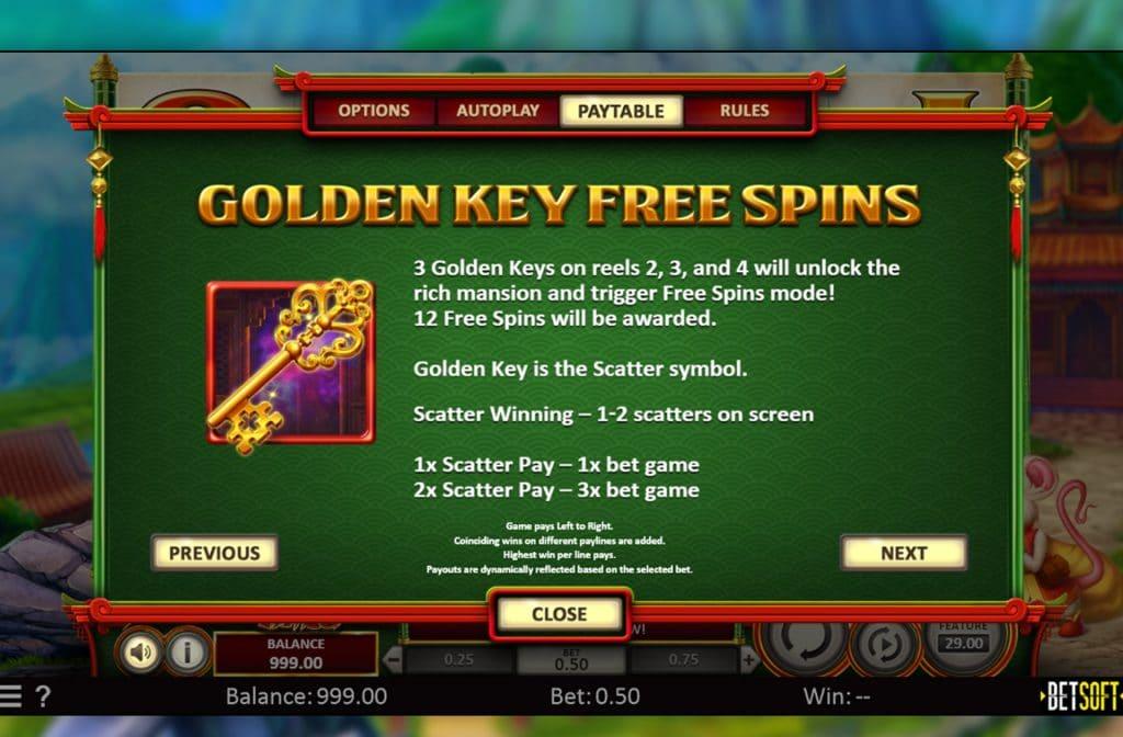 De Golden Key is het Scatter symbool bij Spring Tails