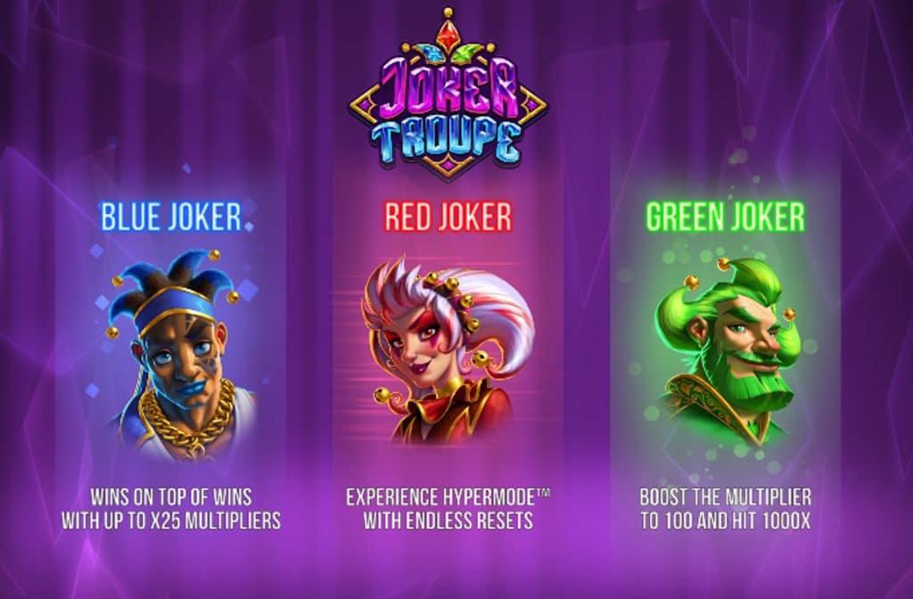 De diverse gekleurde jokers zorgen elk voor andere geldprijzen