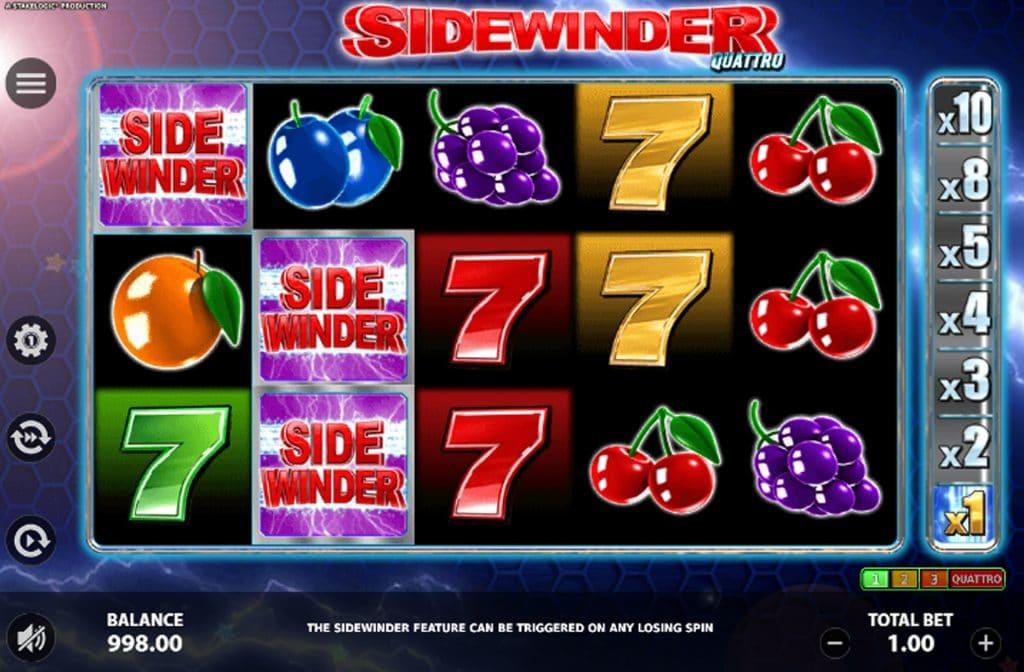 De Sidewinder Quattro gokkast is ontwikkeld door spelprovider Stakelogic