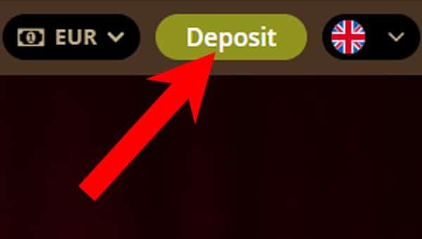 klik op deposit in je casino als je met Trustly wil storten