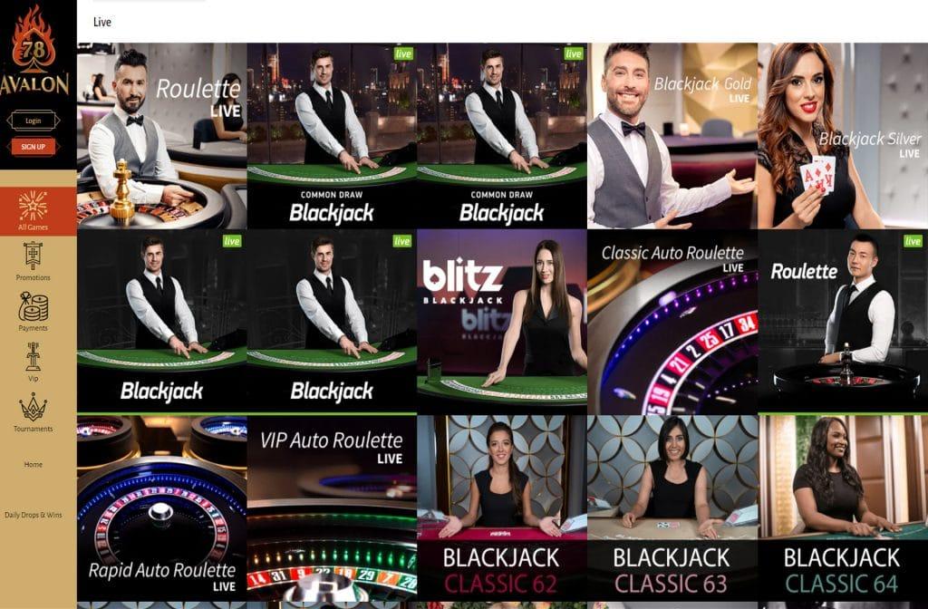 Het is zeker de moeite waard om het Live Casino van Avalon 78 Casino te bezoeken