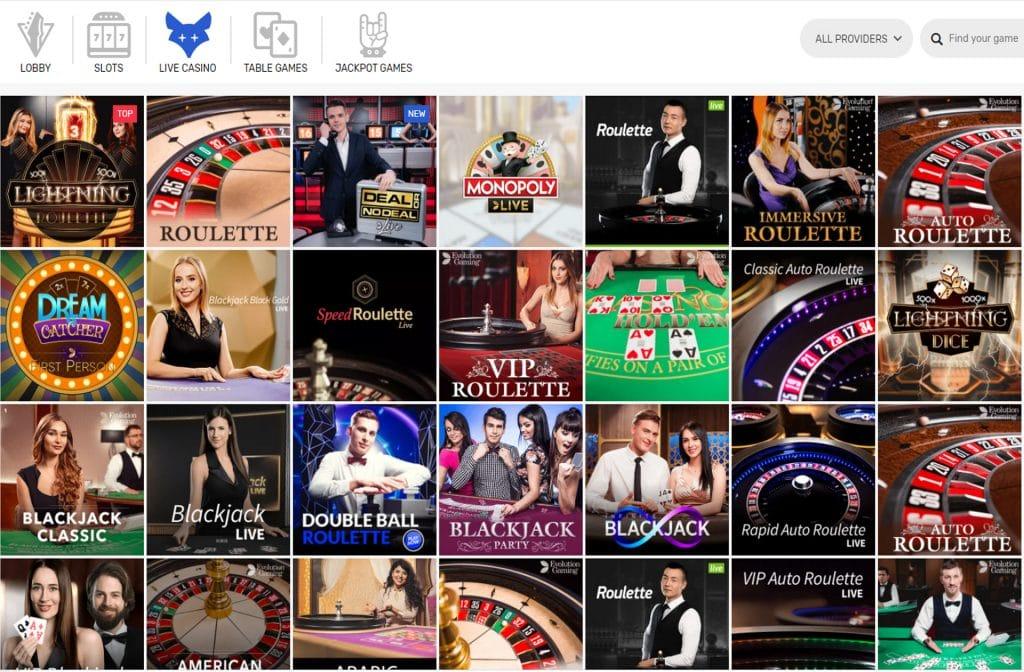 Het live casino is ook zeker de moeite waard bij CrazyFox Casino