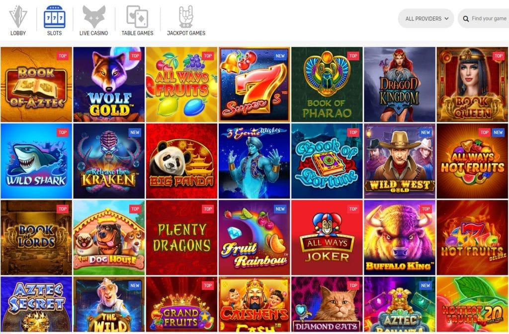 Er is een ruim spelaanbod bij CrazyFox Casino
