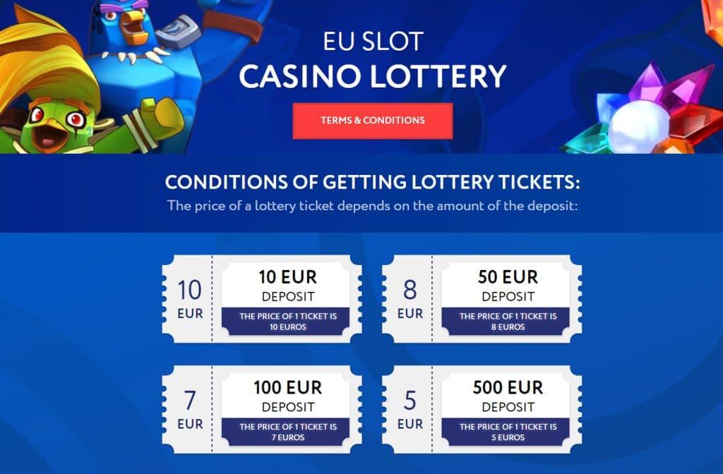 Ook kun je bij EUslot Casino deelnemen aan de loterij