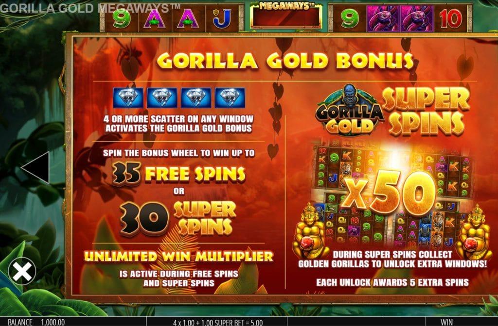 Met de Scatter symbolen kun je de Gorilla Gold Bonus activeren