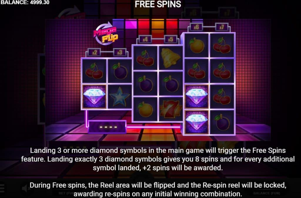 Bij de Mega Flip fruitautomaat zijn er diverse bonussen die je kunt activeren