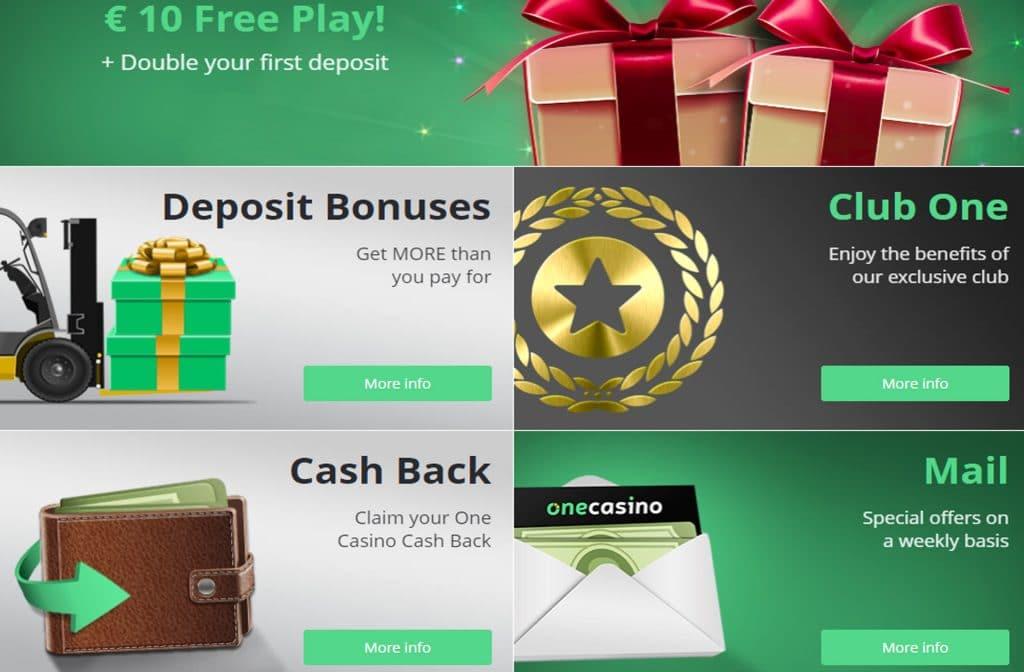 Diverse bonussen kun je activeren bij One Casino