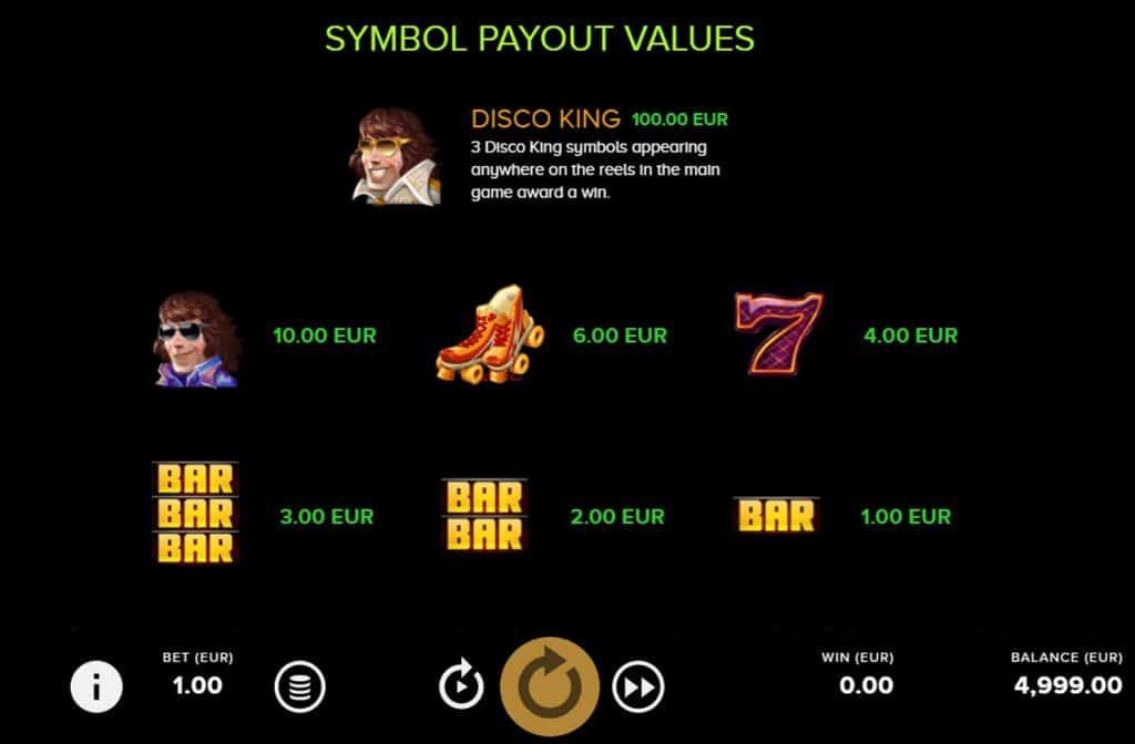 In de uitbetalingstabel van Disco Danny zie je wat de betreffende symbolen waard zijn