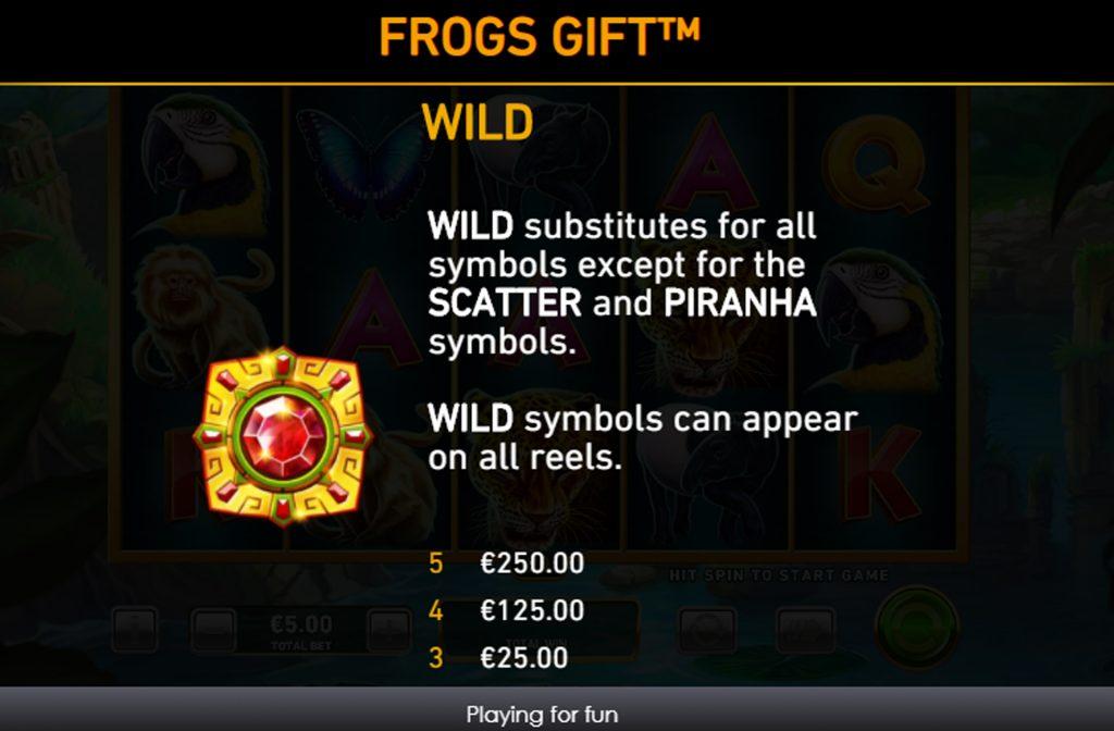 Het Wild symbool bij Frogs Gift heeft een vervangende functie en kan onderbroken combinaties completeren