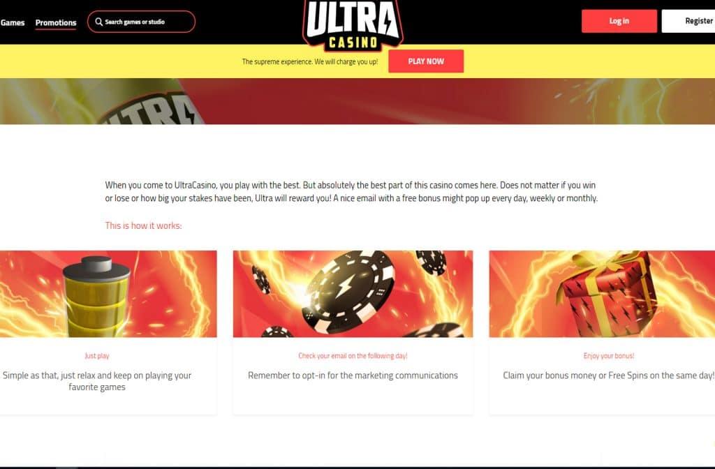 Check je e-mail en ontvang een dagelijkse, wekelijkse of maandelijkse bonus bij Ultra Casino