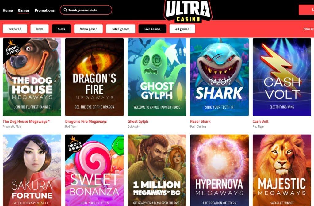 Bij Ultra Casino heb je een ruim spelaanbod