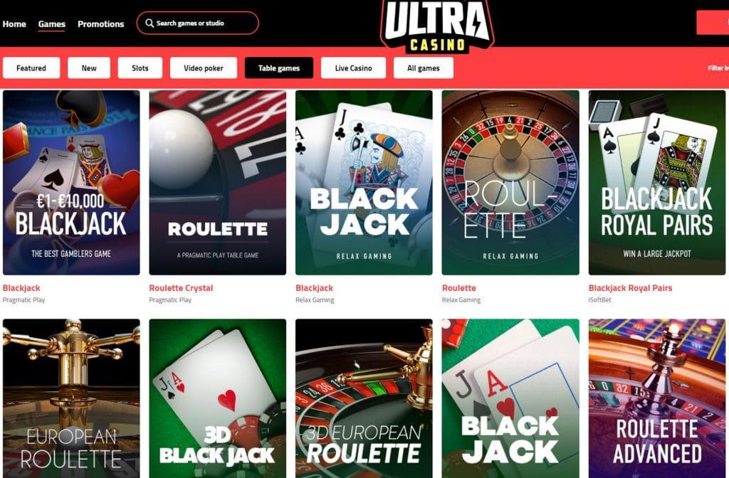 De tafelspellen van Ultra Casino moet je zeker eens proberen