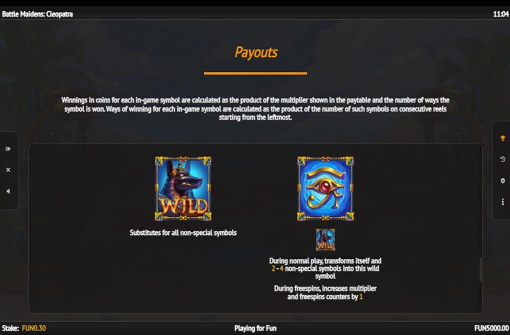 Neem gerust eens een kijkje in de prijzentabel om te zien wat de betreffende symbolen waard zijn