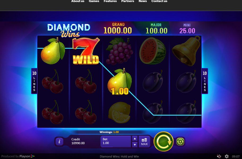 De Diamond Wins Hold and Win gokkast is ontwikkeld door spelprovider Playson