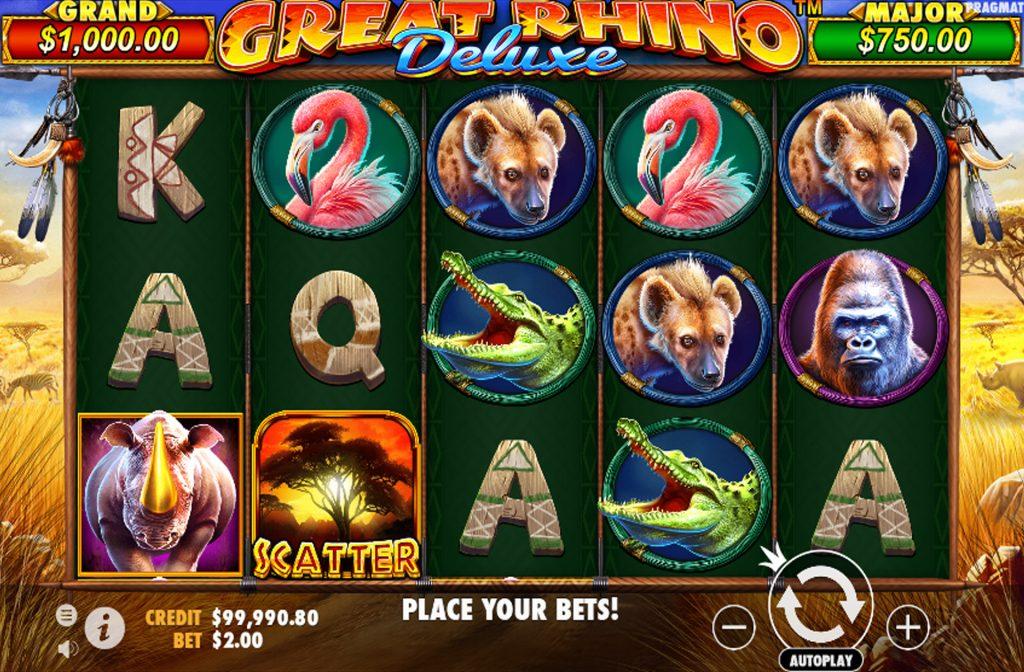 De Great Rhino Deluxe gokkast is ontwikkeld door spelprovider Pragmatic Play