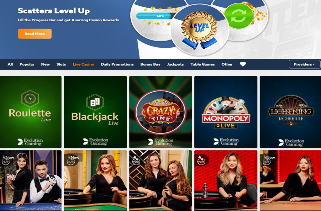 Je moet ook zeker eens een kijkje gaan nemen bij het Live Casino van Scatters Casino