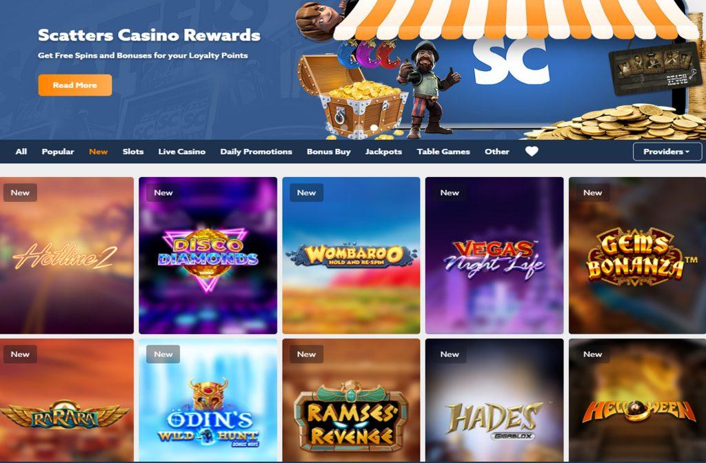 Bij Scatters Casino kun je uit een ruim spelaanbod kiezen
