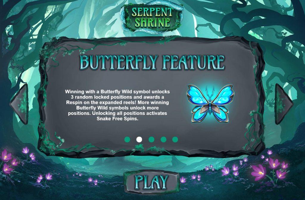 Draai je de Vlinder als Wild symbool, dan worden er 3 willekeurige posities ontgrendeld
