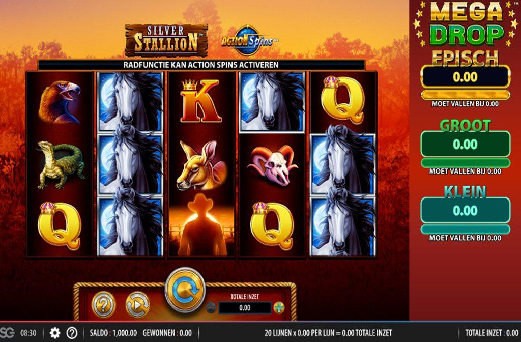 De Silver Stallion Action Spins gokkast is ontwikkeld door spelprovider WMS
