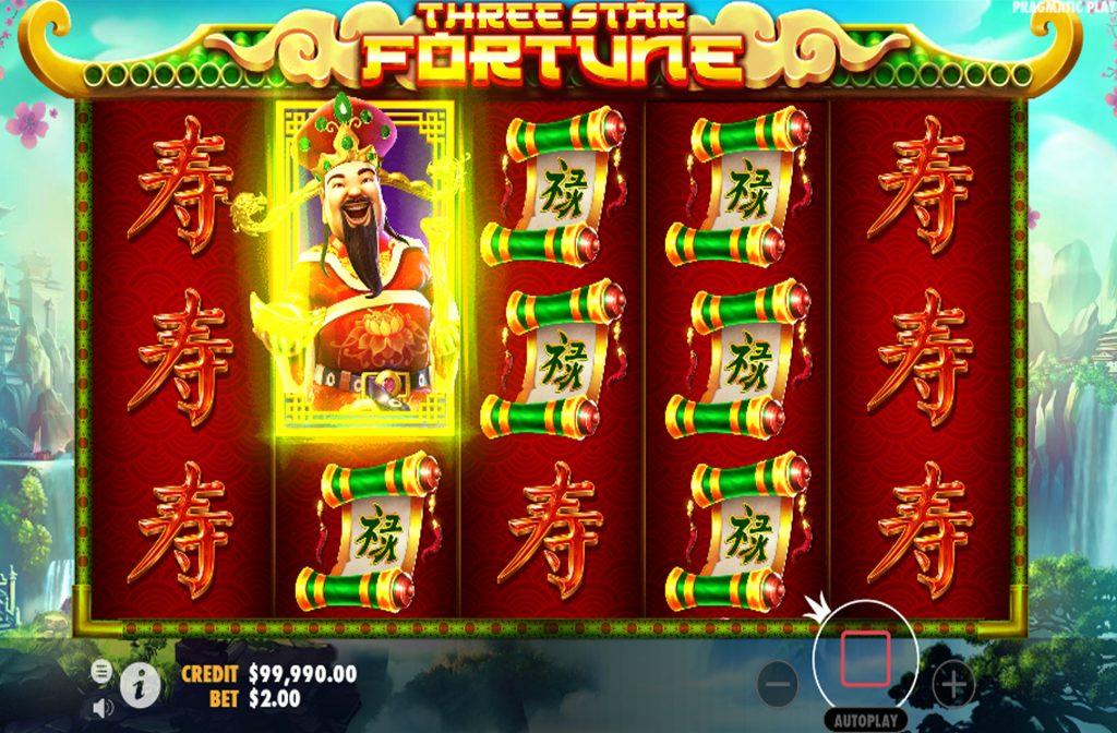 De Three Star Fortune gokkast is ontwikkeld door spelprovider Pragmatic Play
