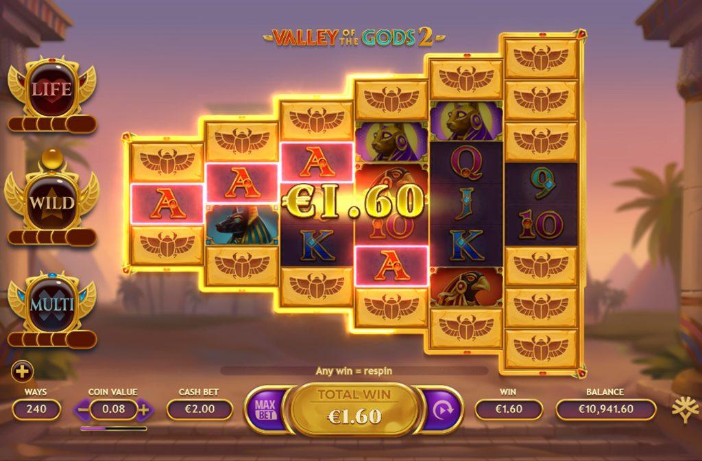 De Valley of the Gods 2 gokkast is ontwikkeld door spelprovider Yggdrasil