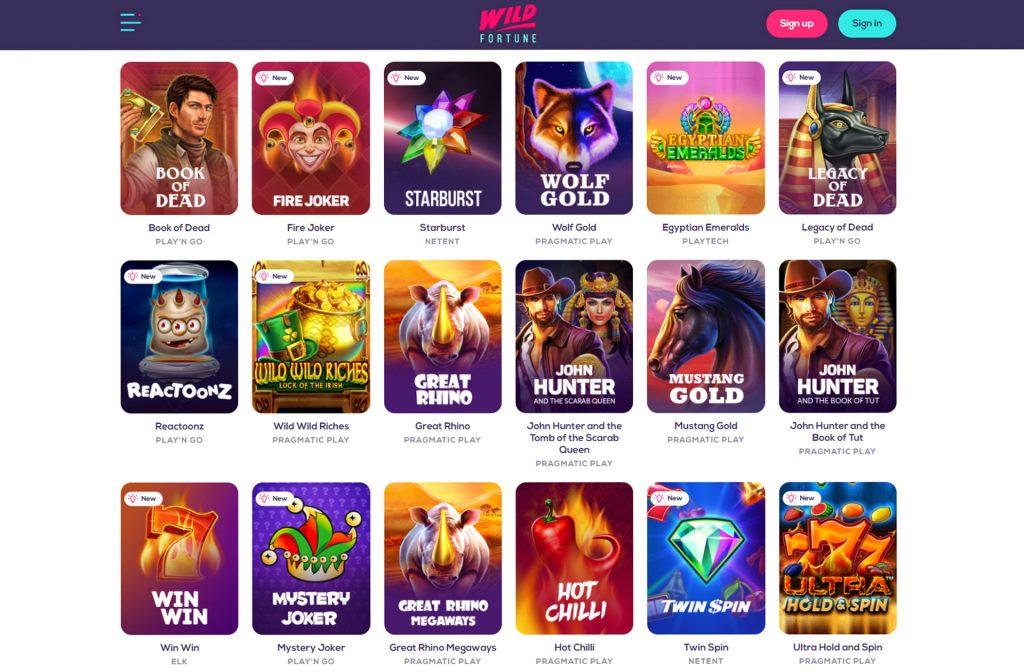 Wild Fortune Casino heeft een ruim spelaanbod