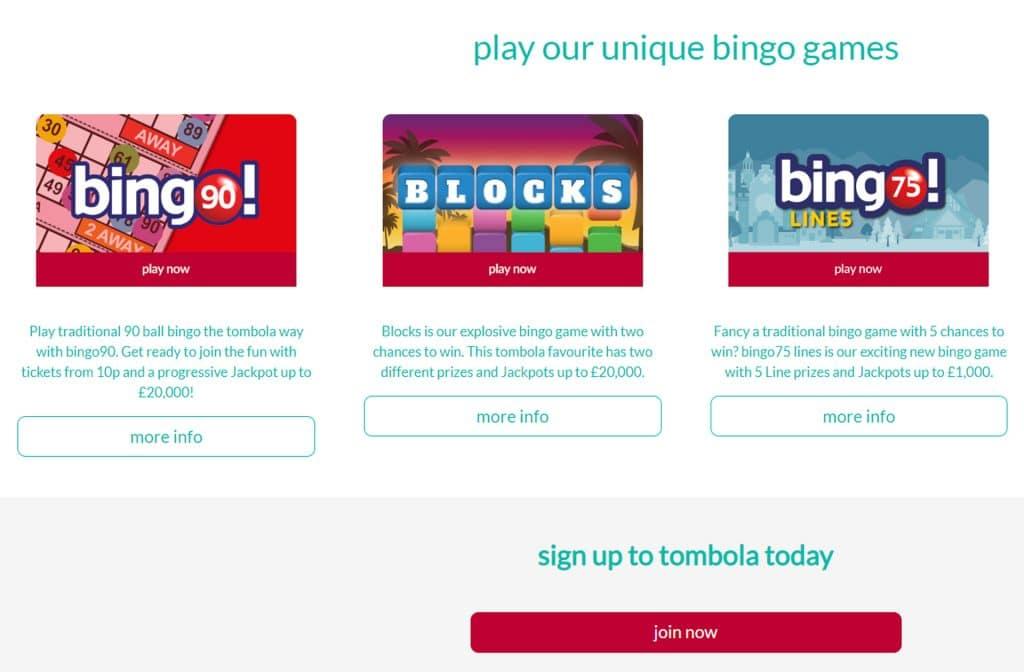 Maak een keuze uit een van de vele bingo spellen