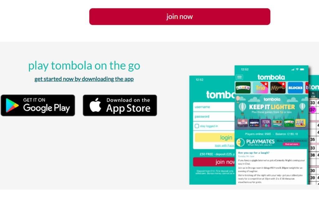 De bingo spellen van Tombola kun je ook op je mobiel spelen