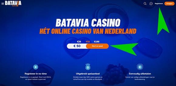 Batavia Casino registreren 1