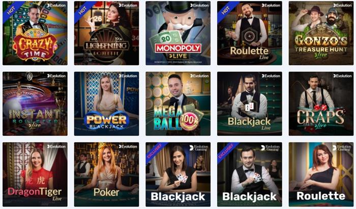Een mooie collectie live casino spellen